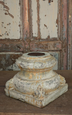 19th century teak painted pillar base <b>SOLD<b>
